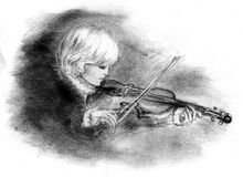 Boy playing the violin. In an 18th century - Illustration Stock Illustration