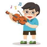 A boy playing violin on white background. stock illustration