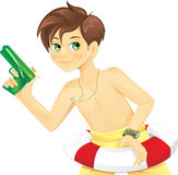 Boy playing with water gun Royalty Free Stock Photos