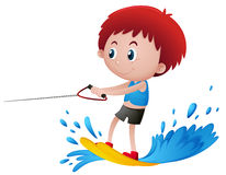 Boy playing water ski. Illustration Royalty Free Stock Image