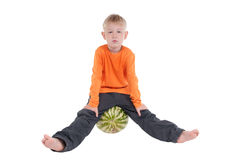 Boy playing with watermelon Royalty Free Stock Images