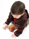 Boy Playing With Old Wodden Cars Stock Photos