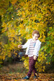 A boy playing in the woods Stock Images