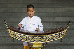 Boy playing xylophone in Bangkok, Thailand Royalty Free Stock Images