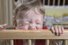 Boy in playpen. Cute boy standing in the playpen holding on the fence Royalty Free Stock Images