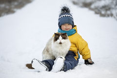 Boy plays with a cat outdoors Royalty Free Stock Photography