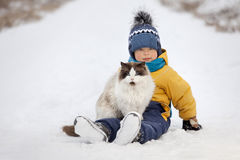 Boy plays with a cat outdoors Royalty Free Stock Photo