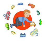 A boy plays in a chauffeur Stock Photography