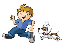 Boy plays with the dog Stock Photo