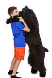 Boy plays with a dog Royalty Free Stock Photography
