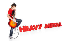Boy plays on electric guitar with 3d text Royalty Free Stock Photos