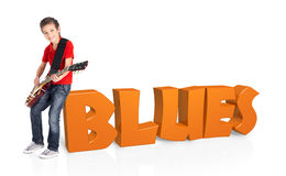 Boy plays on electric guitar with 3d text Royalty Free Stock Photo