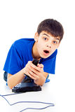 Boy plays games Stock Photo