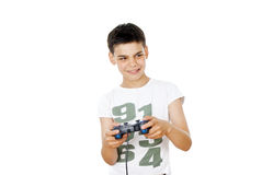 Boy plays on the joystick Royalty Free Stock Photos