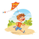 Boy plays with a kite in the park. Funny cartoon character Royalty Free Stock Photography