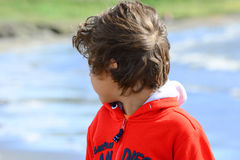 Boy plays at the seaside. In the wind Stock Photography