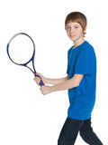 Boy plays tennis Royalty Free Stock Image