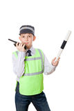 Boy plays in traffic police. A boy plays in traffic police, isolated on white background Stock Photos