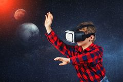The boy plays virtual educational games . Modern technologies in training royalty free stock images