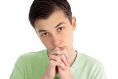 Boy pleading, praying thoughts, pondering Royalty Free Stock Photos