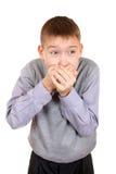 Boy plug the Mouth Royalty Free Stock Photos