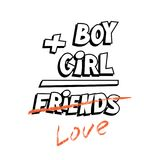 Funny t-shirt or mug print design. Boy plus girl equals friends. Vector template. Royalty Free Stock Image