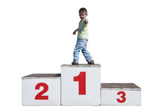Boy on the podium royalty free stock image