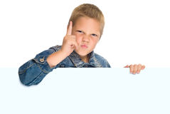 Boy pointed finger up. Boy with big card pointed finger up Stock Photos
