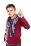 Boy pointg to empty space Royalty Free Stock Photography
