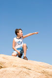 Boy pointing royalty free stock photos