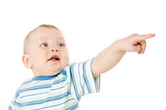 Boy Pointing Stock Photo