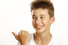 Boy pointing Stock Photos