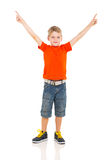 Boy pointing copyspace Royalty Free Stock Image