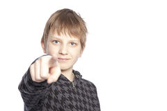 Boy pointing finger Stock Photos