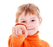 Boy pointing with finger against Royalty Free Stock Photography