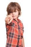 Boy pointing front Royalty Free Stock Photos