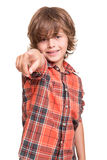 Boy pointing front Royalty Free Stock Image
