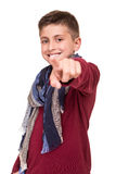 Boy pointing front Stock Photography