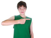 Boy pointing with his finger Royalty Free Stock Image