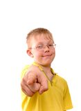 Boy pointing his finger right at you Royalty Free Stock Photos