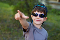 Boy pointing the sky Royalty Free Stock Photography