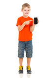 Boy pointing smart phone Stock Image