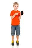 Boy pointing smart phone Stock Image