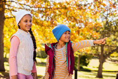 Boy pointing while standing with sister against autumn trees Royalty Free Stock Photography