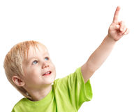 Boy points his finger. Infant boy one arm outstretched is pointing his finger Stock Images