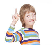 Boy Points up his Finger, Has an Idea Royalty Free Stock Photos