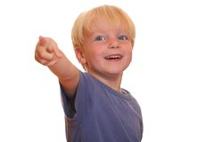 Boy points at you Stock Photos