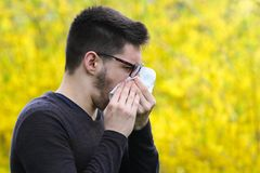 Boy with polen allergy over flowers is sneezing. Boy with polen allergy over yellow flowers is sneezing Royalty Free Stock Images