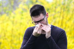Boy with polen allergy over yellow flowers is sneezing. In the park Royalty Free Stock Photo