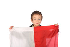 Boy with Polish flag Royalty Free Stock Images